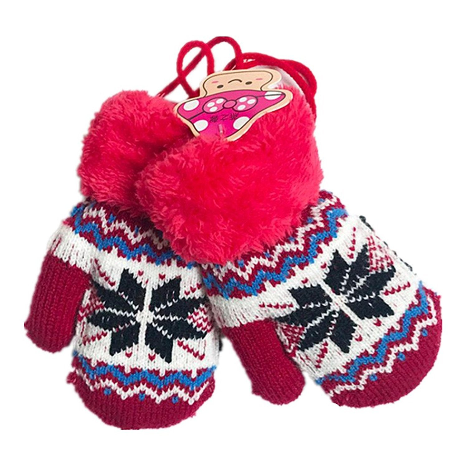 Webla Kids Baby Boy Girl Winter Keep Warm Hanging Neck Full Fingers Snowflake Gloves Mittens For 1-4 Years Old MIA-113014