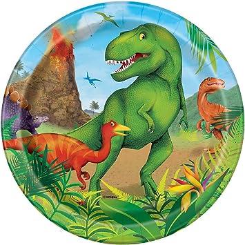 Unique Party- Platos de Papel Fiesta de Dinosaurios, 8 Unidades (58314)