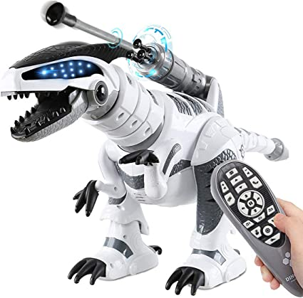 Amazon Com Fistone Rc Robot Dinosaur Intelligent Interactive Smart Toy Electronic Remote Controller Robot Walking Dancing Singing With Fight Mode Toys For Kids Boys Girls Age 5 6 7 8 9 10 And