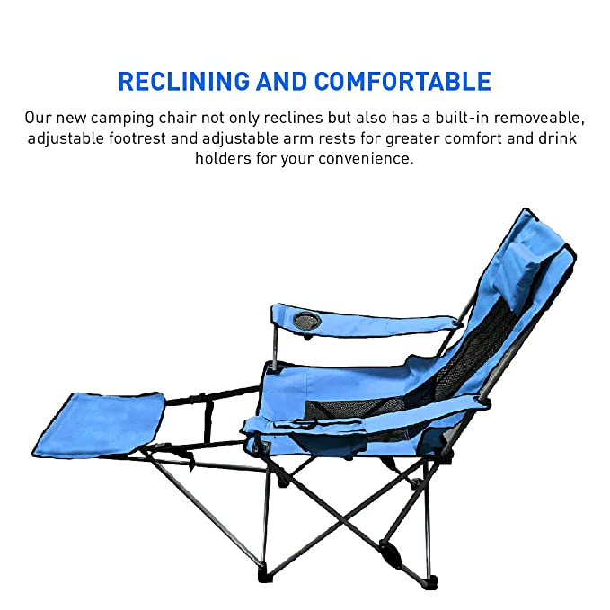 Amazon.com : EasyGo Leg Rest Camping Chair   Lightweight, Foldable,  Reclining Leg Rest Camping Chair   Camping Chair With Footrest : Sports U0026  Outdoors