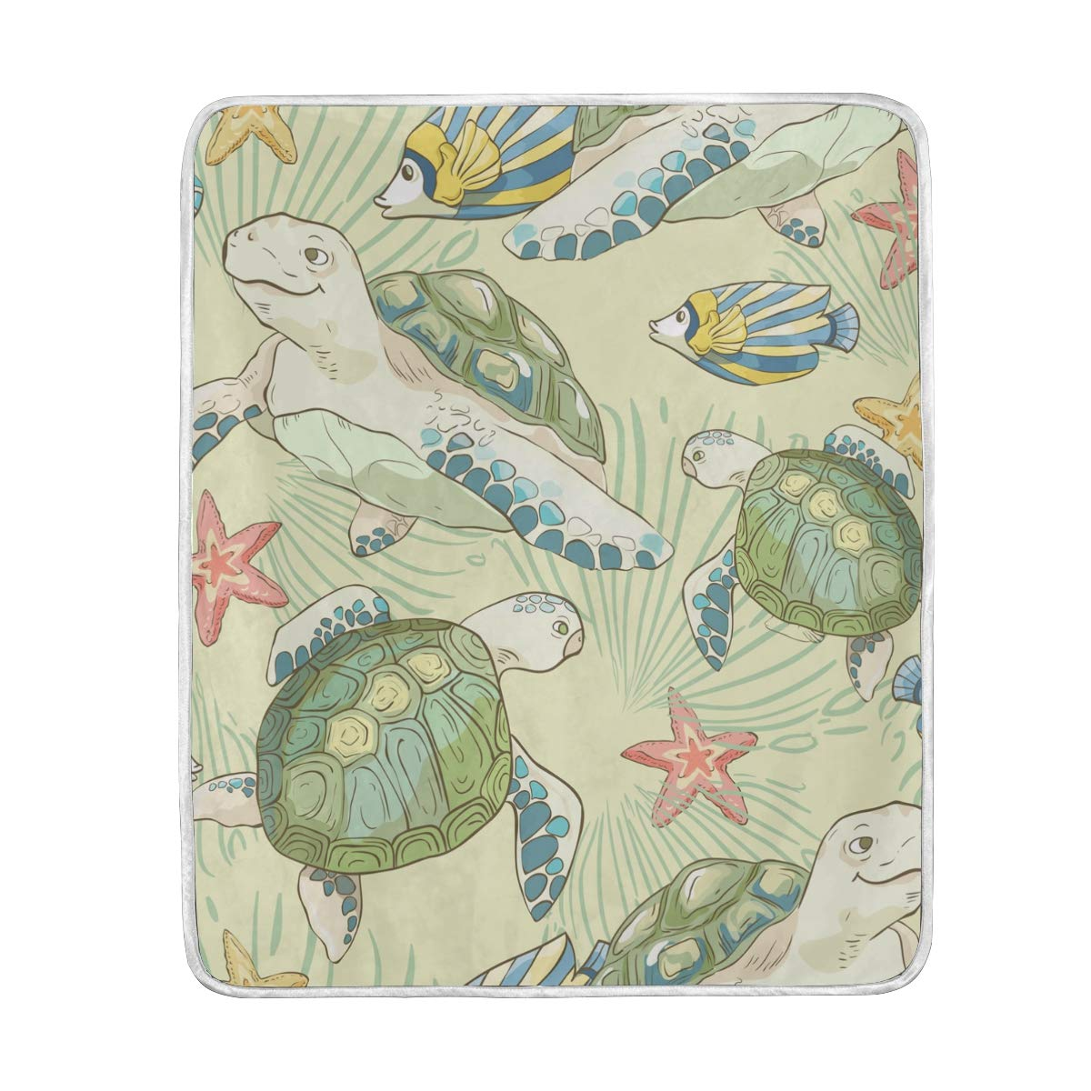 ALAZA Seasonal Quilt Ocean Marine Life Turtle and Starfish Crystal Velvet Throw Blanket for Bed 50 x 60 inch Kids Baby Girls Colorful Painting Couch Blanket Throw Decor