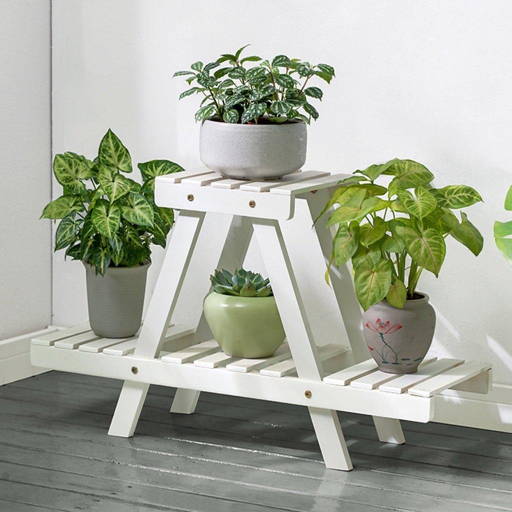 YXLAB Blumenständer- Holz Pflanze Blume Ausstellungsstand Holz Topf Regallager Outdoor Indoor 4 Töpfe Halter 75  26  45 cm (Farbe   Weiß)