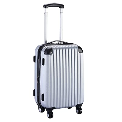 "TF-Godung Suitcase 20"" Travel Bag Trolley Gray ABS Hard Shell Expandable Wheels"