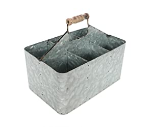 "Barnyard Designs Vintage Carry-All Galvanized Metal Serve-ware | Multipurpose Storage Bin, Potting | Primitive Rustic Country Home Kitchen Decor, 11"" x 7"" x 5.5"""