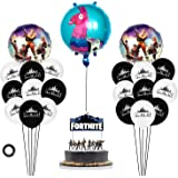Maxi Fortnite Party Supplies Set Happy Birthday Cake Banners Topper Favors Foil Latex Balloons Video Game Theme Decorations Supply Kit for Adults, Teens Boys, Girls and Kids