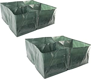 HYDDNice 2 Pack Raised Garden Planter Fabric Bed, 4 Divided Grids Square PE Planter Box with Metal Drain Holes Planting Grow Pot for Vegetables, Herb Peppers Flower Plants Grow