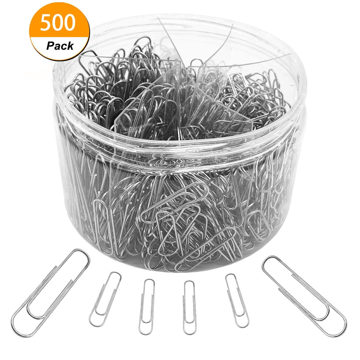 Paper Clips, 500 Pieces Sliver Paperclips, Medium 28mm and Jumbo Sizes 50mm, Office Clips for School Personal Document Organizing Professional Work (500 Pcs Sliver)