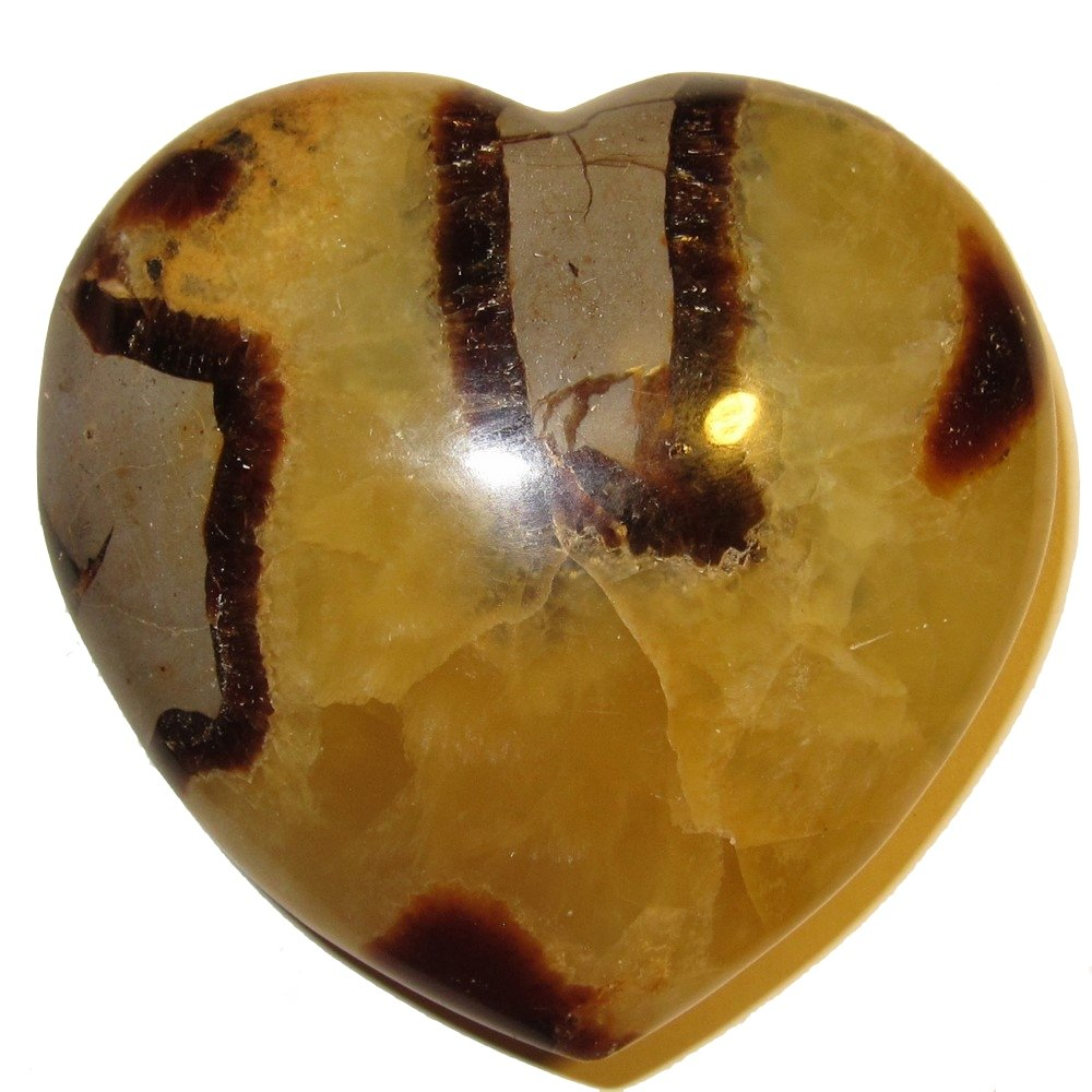 Septarian Heart 02 Large Plump Yellow Sunshine Crystal Happiness Love Health Stoene 3.1''