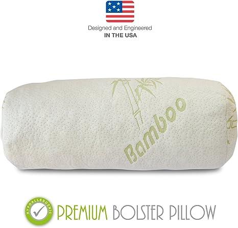 Bamboo Sleep Premium Bolster Pillow Memory Foam Ultra Comfort Yoga Pilates