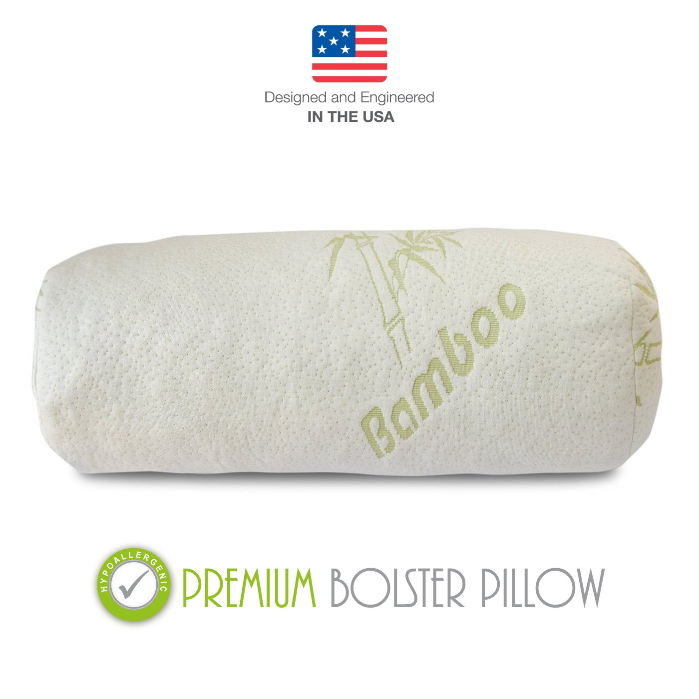 Premium Bamboo Bolster Pillow For Bed - Shredded Memory Foam Pillow Cervical Support For Legs, Round Neck Pillow For Neck Pain, Therapeutic, Orthopedic - Removable Zipper Cover Hypoallergenic Pillow by Premium Bamboo Pillows