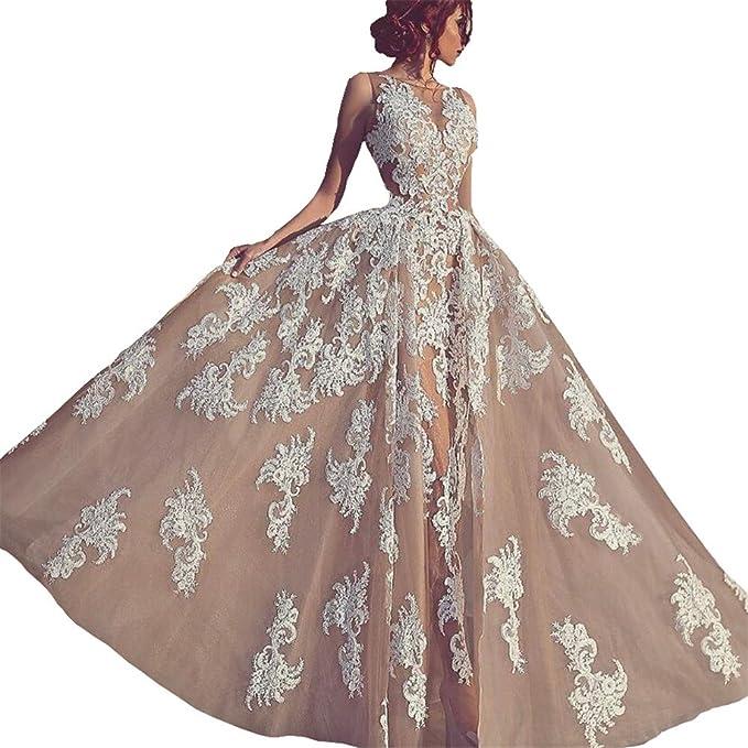 Changjie Mujere V-cuello Apliques de encaje 2018 Vestidos de Fiesta Largos de Noche elegantes Vestido de Novia Para Boda: Amazon.es: Ropa y accesorios