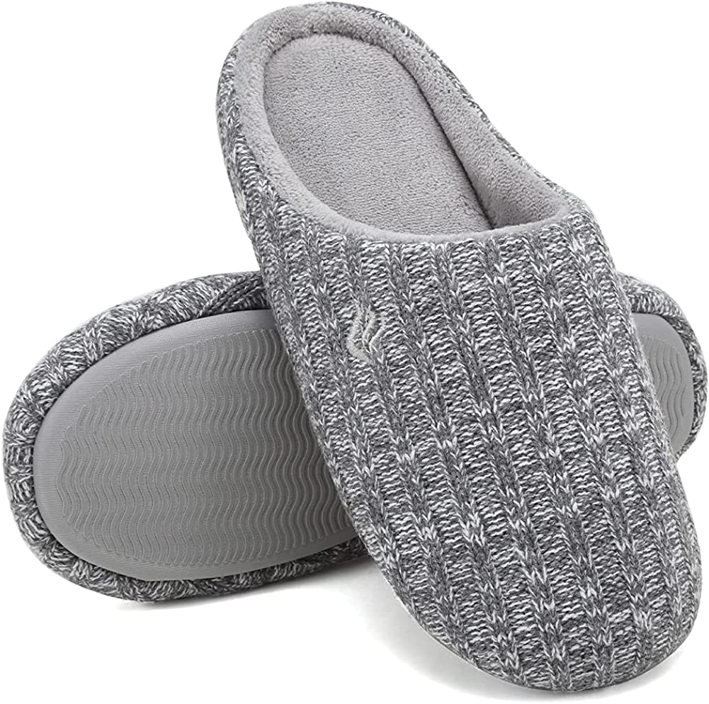CIOR Men's Memory Foam Slippers Comfort Knitted Cotton-Blend Closed Toe Non-Slip House Shoes Indoor & Outdoor