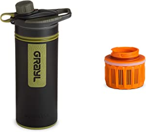GRAYL GeoPress Water Purifier Bottle + Extra Filter Cartridge [Bundle] for Hiking, Camping, Survival, and Travel (Camo Black)