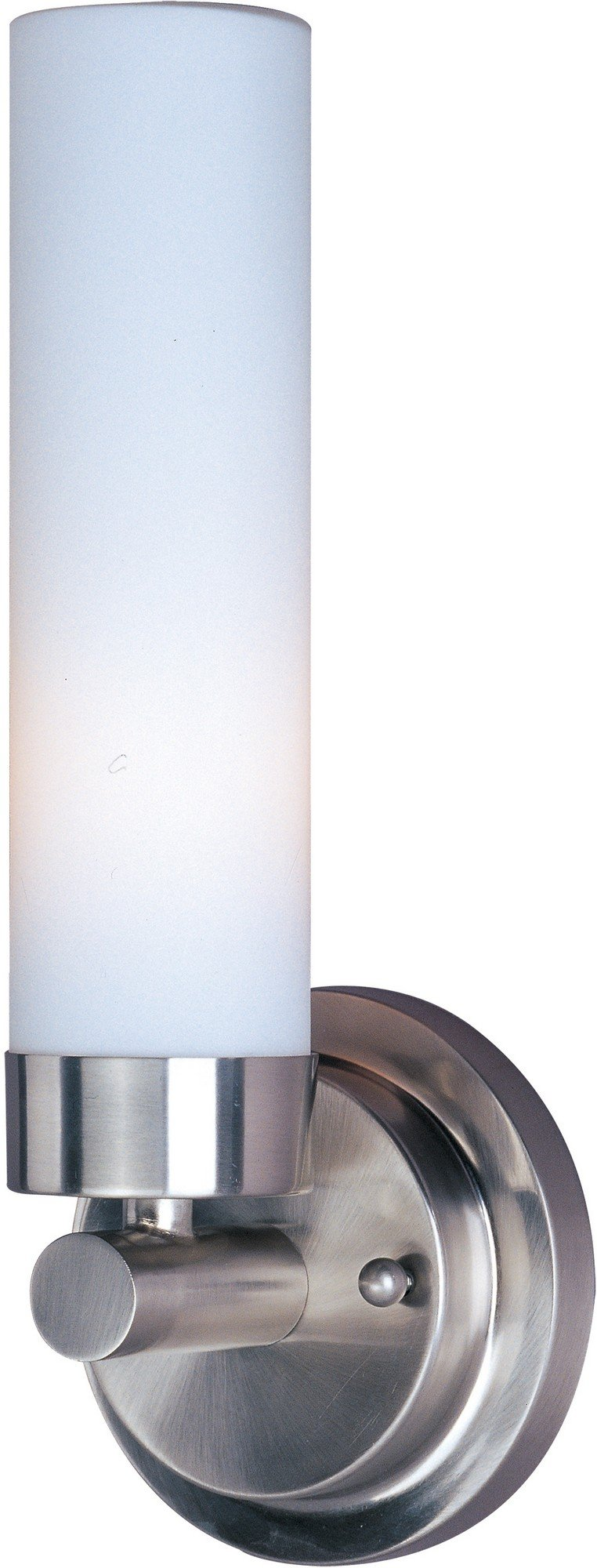 ET2 E53006-11 Cilandro 1-Light Wall Sconce, Satin Nickel Finish, Matte White Glass, MB T10 Incandescent Incandescent Bulb, Wet Safety Rated, 3000K Color Temp., Shade Material, 588 Rated Lumens