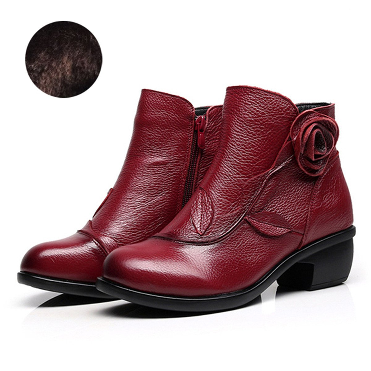 dcdfd296e147 Socofy Leather Ankle Bootie