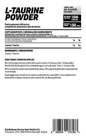Taurina en Polvo de HSN | Mejora la Hidratación y Reduce Calambres | Neurotransmisor y Aumenta la producción de GABA | Vegano, Sin Gluten, Sin ...