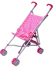 Precious Toys 0128B Pink and White Polka Dots Umbrella Doll Stroller with Hot Pink Handles and Silver Frame