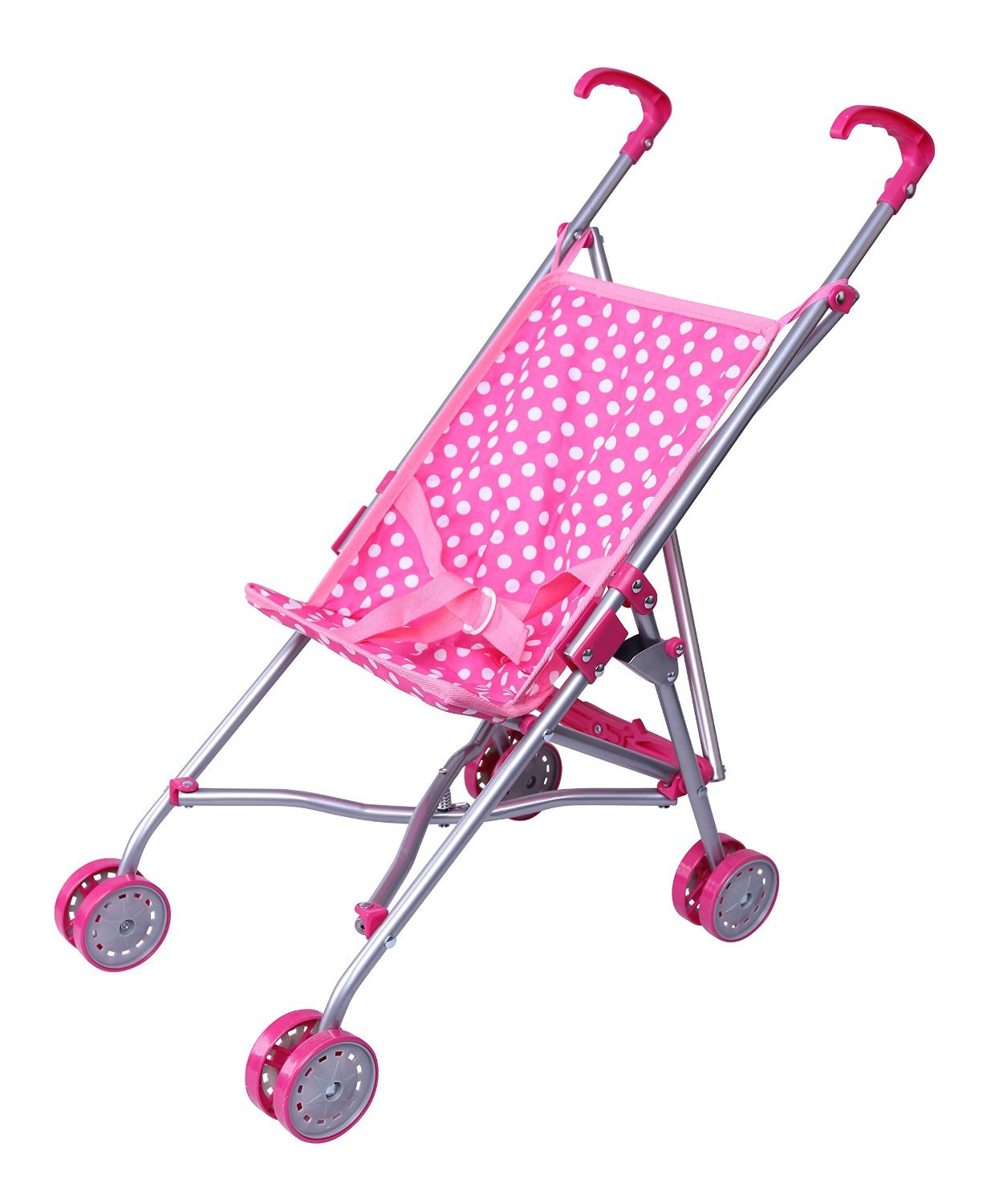 Precious toys Pink and White Polka Dots Umbrella Doll Stroller with Hot Pink Handles and Silver Frame - 0128B Homeco PT0128B