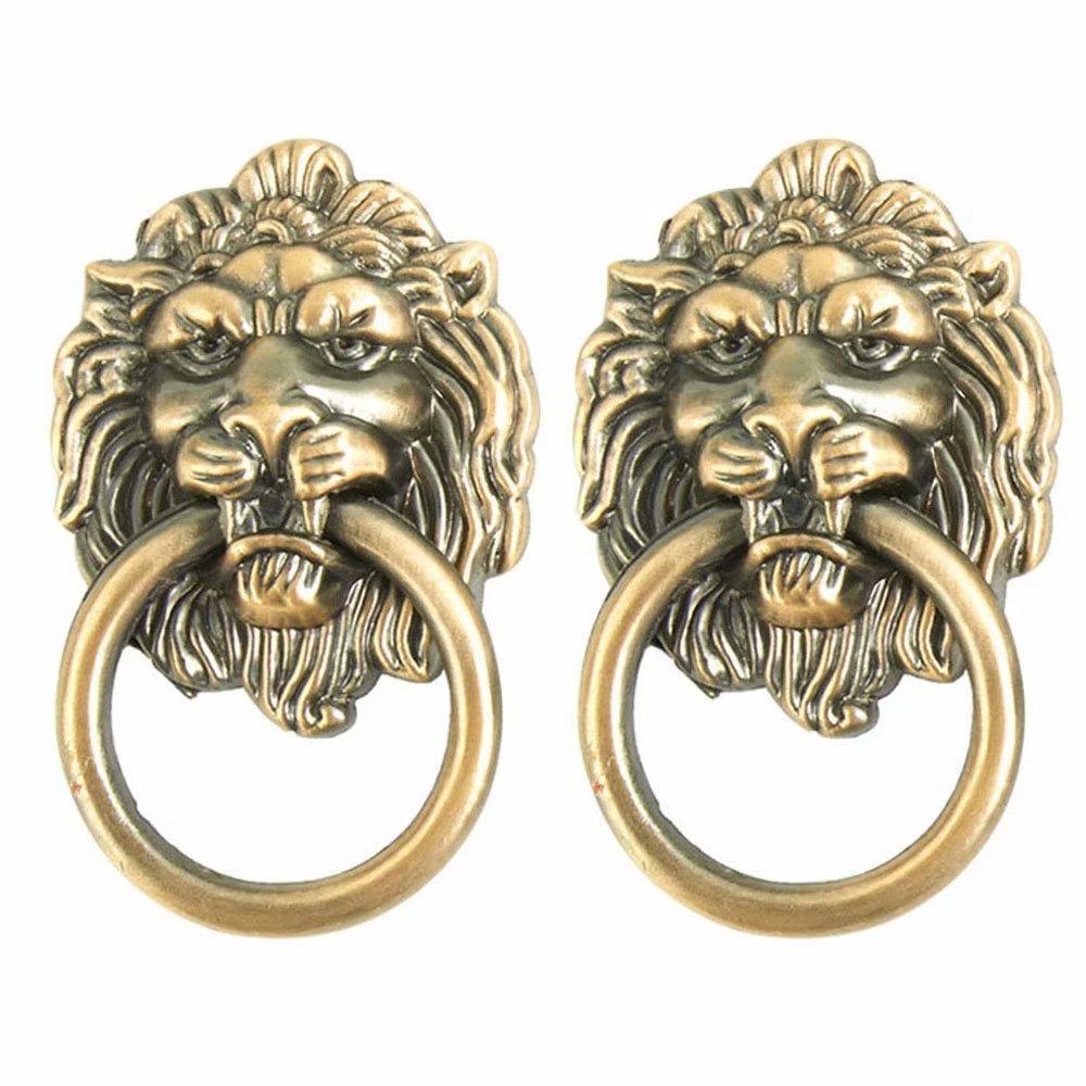FirstDecor Set of 2 Lion Head Handle Antique Zinc Alloy Knobs Drawer Pulls/Knobs/Handles/for Kitchen Cabinets,Cupboards,Wardrobe,Drawer, Furniture Hardware