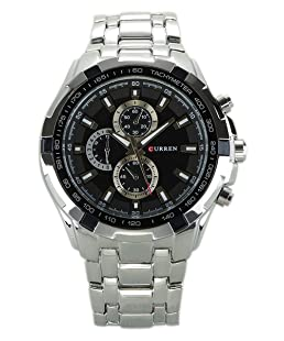 Reloj de hombre - CURREN Reloj de pulsera de acero inoxidable de hombre (Correa de plata & Esfera negra&puntero de plata)