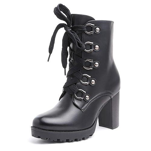 grande vendita 99b43 80bf1 MForshop Stivaletti Tronchetto Anfibi Lacci Tacco Alto Boots Eco Pelle gl017