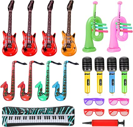 1 INFLATABLE MICROPHONE PARTY FAVOR KARAOKE CARNIVAL 1 INFLATABLE GUITAR