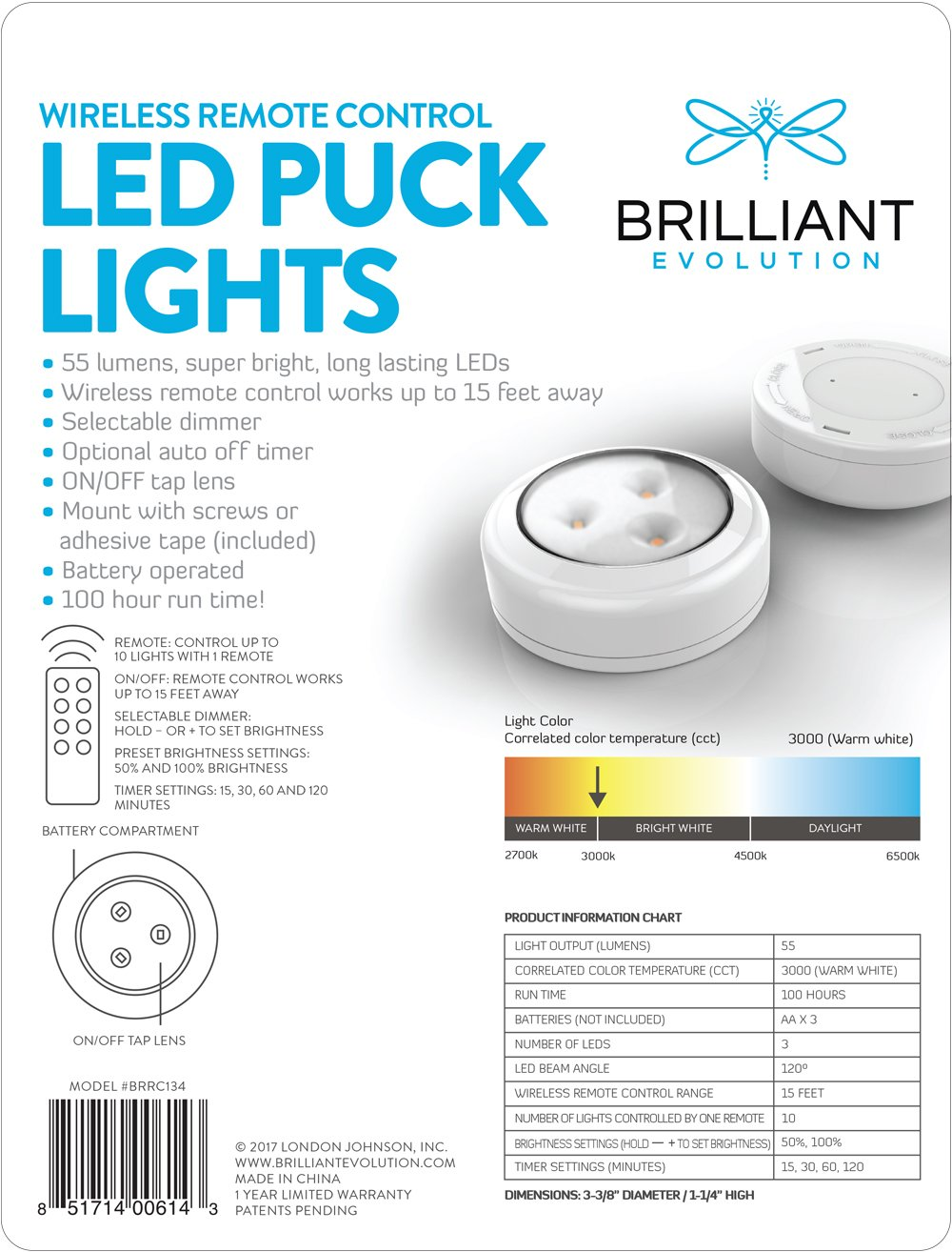 2016 602 215 399 unique contemporary - Brilliant Evolution Brrc134 Wireless Led Puck Light 2 Pack With Remote Control Operates On 3 Aa Batteries Kitchen Under Cabinet Lighting Amazon Com
