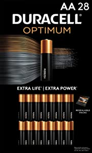 Duracell Optimum AA Batteries   28 Count Pack   Lasting Power Double A Battery   Alkaline AA Battery Ideal for Household and Office Devices   Resealable Package for Storage