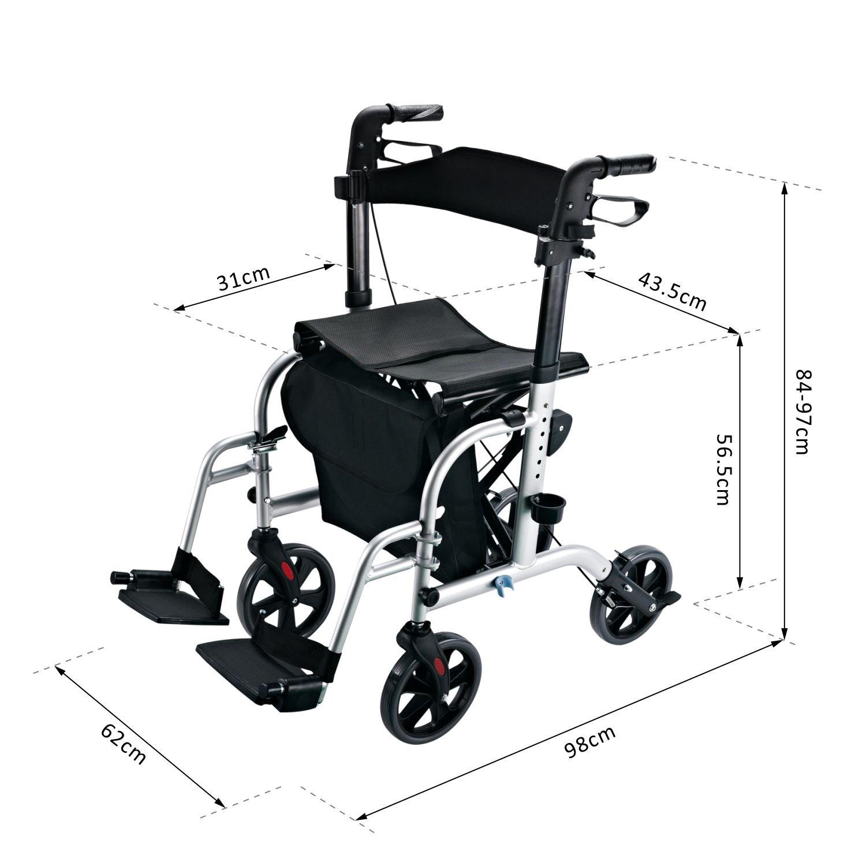 Homcom Transportar Movilidad 2 en 1 Aluminio andador a silla ...