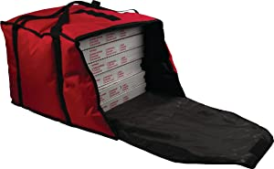 """San Jamar PB20-12 Commercial Insulated Pizza/Food Delivery Bag, 12"""" H x 18"""" W x 20"""" D, Red"""