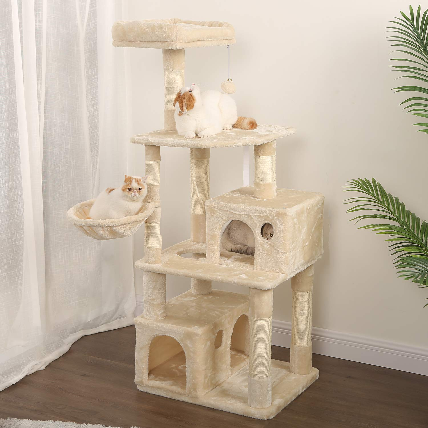 WLIVE 59'' Large Cat Tree Condo with Sisal Scratching Posts, 2 Plush Condos and Basket Lounger, Cat Tower Furniture WF062A by WLIVE (Image #2)