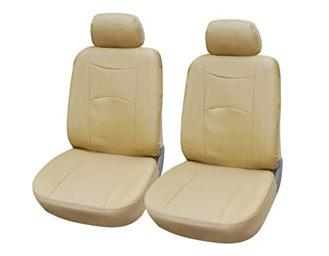 Amazon.com: 115903 Tan-leather Like 2 Front Car Seat Covers ...