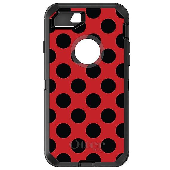 sale retailer 008ff 9cb78 DistinctInk Case for iPhone 7 Plus / 8 Plus - OtterBox Defender Black  Custom Case - Black & Red Polka Dots