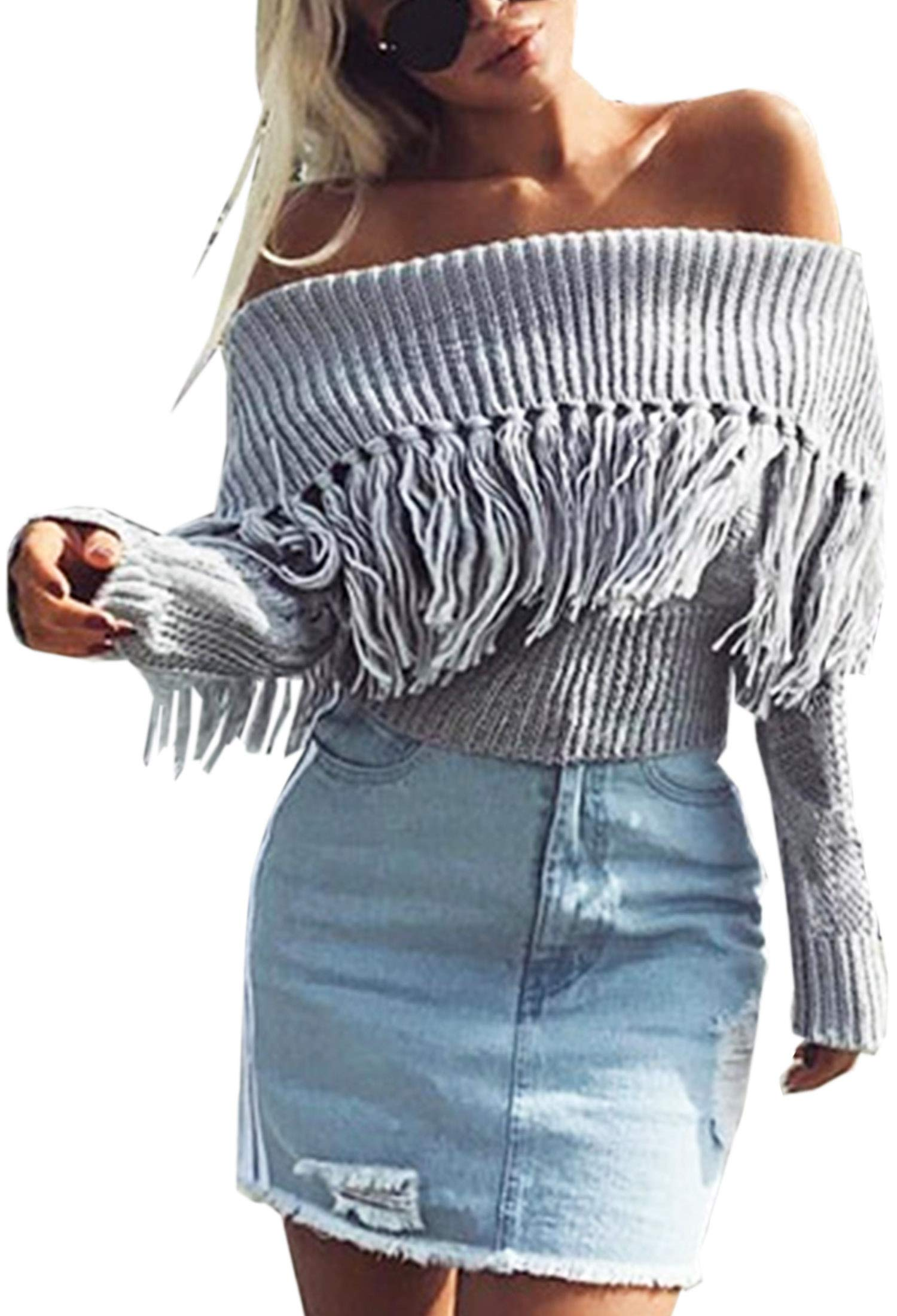 Angashion Women's Sexy Off Shoulder Long Sleeve Slim Fit Fringe Knit Crop Top Sweater Grey M