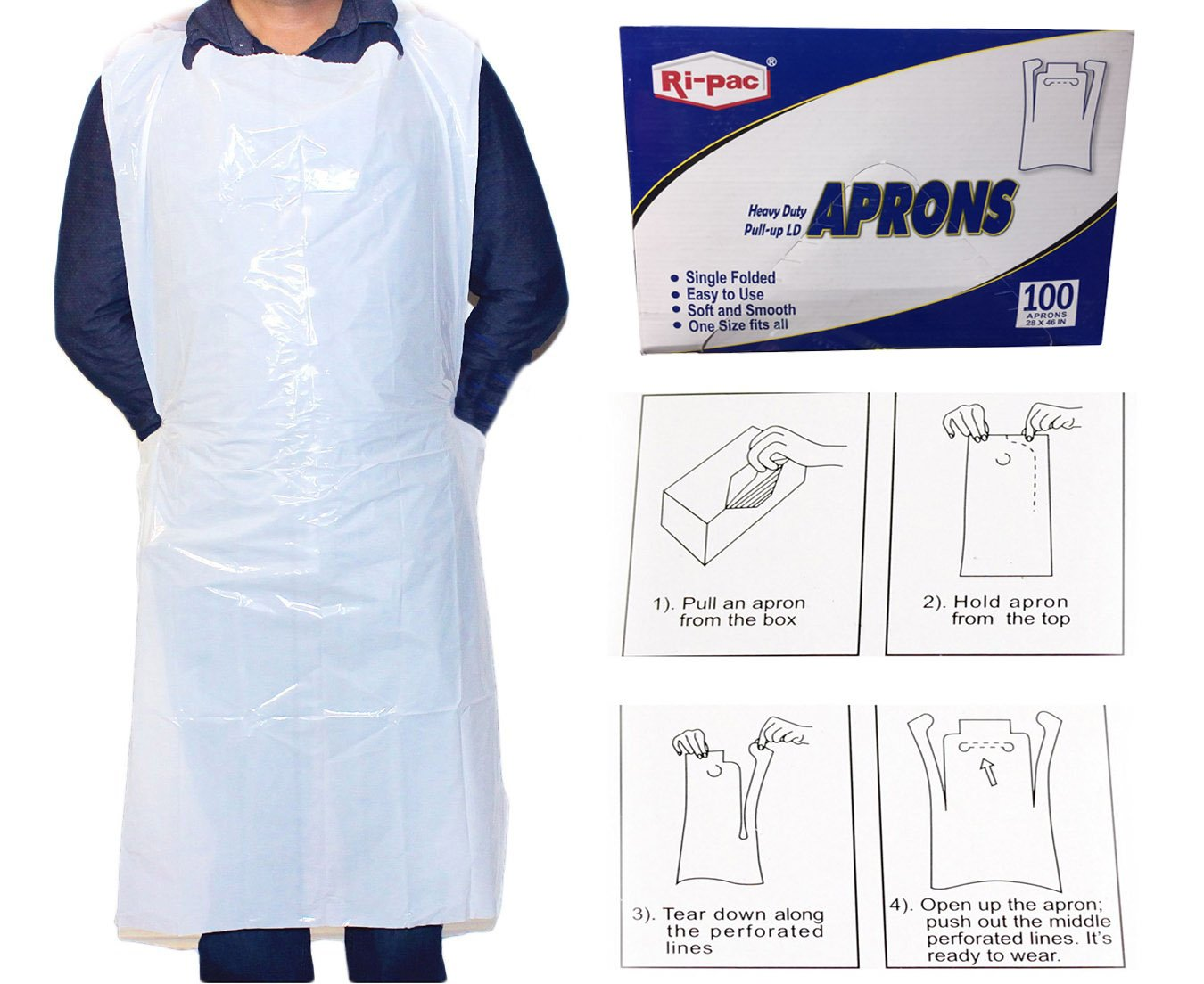Box of 100 Disposable Poly Aprons, 28 Inch X 46 Inch