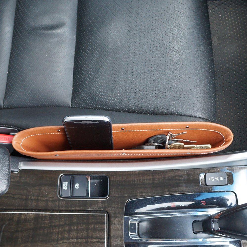 LOCEN Premium PU Leather Car Seat Gap Filler Catch Side Pocket Organizer set of 2 Black