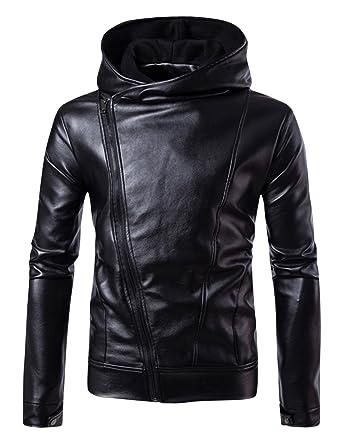089cba2ae0b Springrain Men's Slim Fit Hooded Slant Zipper Moto Biker PU Leather ...