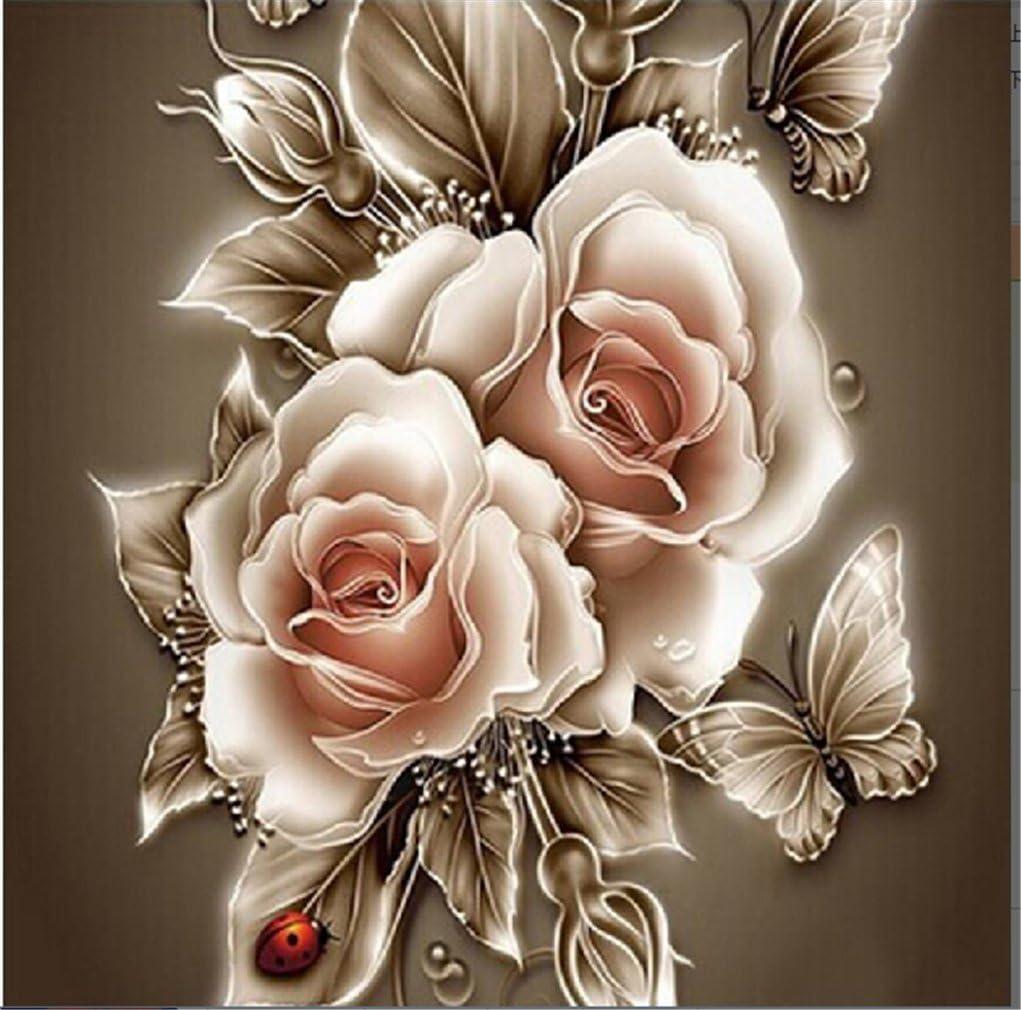 Yeesam Art Cuadro para rellenar con piedras brillantes, producto para hacer tú mismo, de 5D, con una imagen bellas rosas, de 30 x 40 cmy con un bordado de punto de cruz numerado