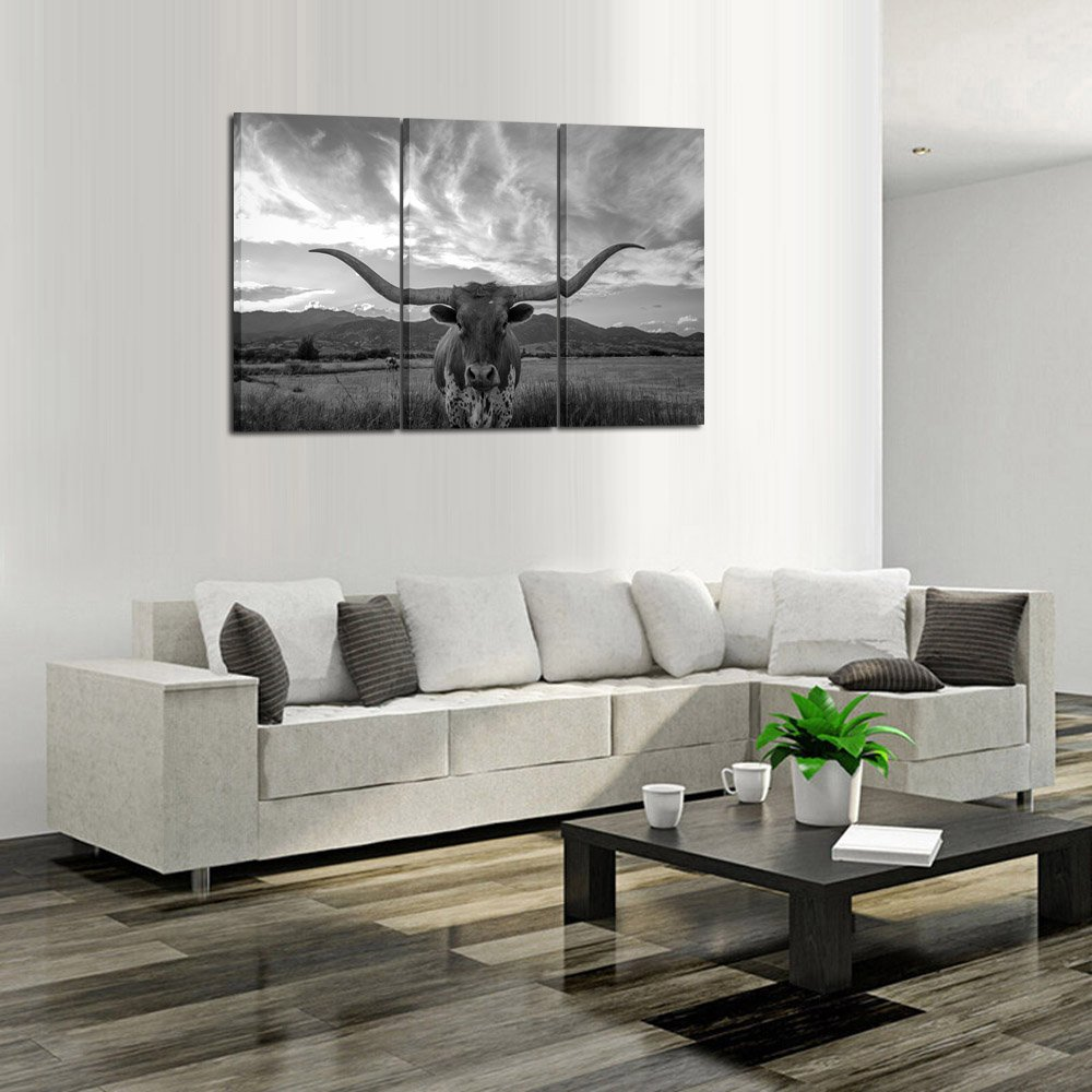 Kreative Arts - Large Modern Canvas Wall Art for Home and Office Decoration Animal Pictures Print Art on Canvas Texas Longhorn Canvas Prints Giclee Artwork for Wall Decor 16x32inchx3pcs by Kreative Arts (Image #3)