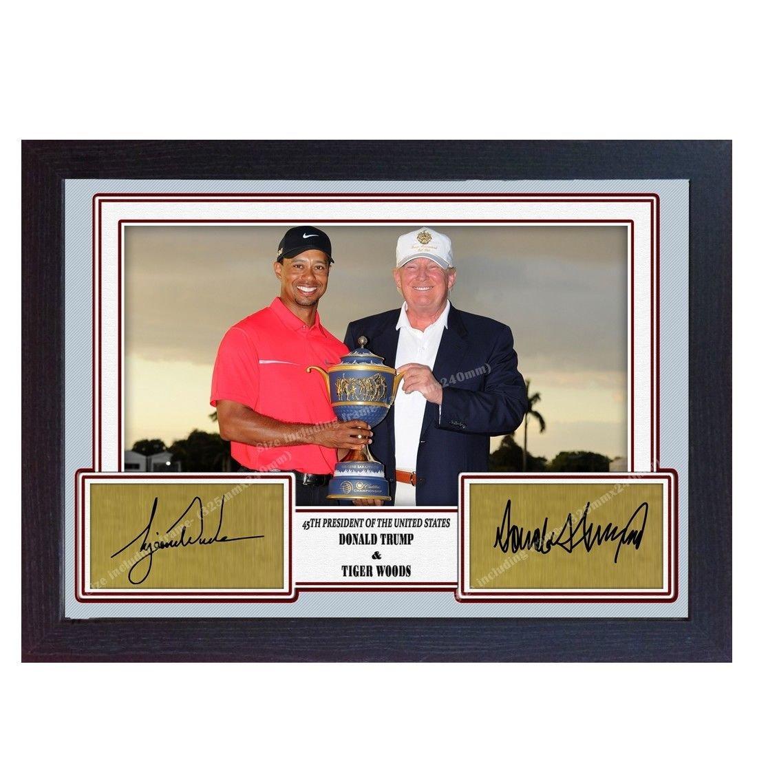 S&E DESING Tiger Wood President Donald Trump signed autograph golf photo print Framed