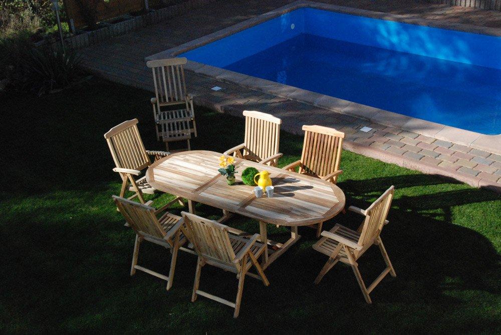 SAM® Teak-Holz Gartengruppe, 9 teilig, Garten-Möbel aus Massiv-Holz, bestehend aus 1 x Auszieh-Tisch + 6 x Hochlehner Klapp-Stuhl + 1 x Deckchair Sonnen-Liege + 1 x Beistell-Tisch [521627]