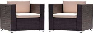 Christopher Knight Home Florence PE Wicker Club Chairs, 2-Pcs Set, Brown