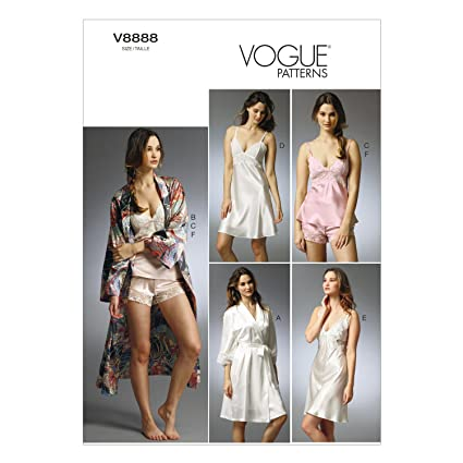 amazon com vogue patterns v8888 misses robe slip camisole and