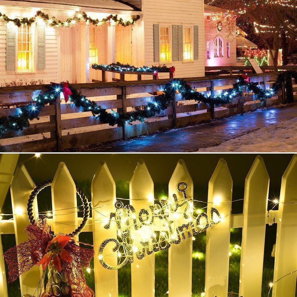 Natale Halloween 20M Stringa Luci Solari 200 LED 8 Modi Impermeabili Luci Decorative da Interni e Esterni per Festa Catena Luminosa Solare Classe di efficienza energetica A+++ Giardino