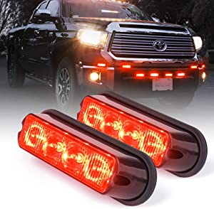 Xprite Red 4 LED 4 Watt Emergency Vehicle Waterproof Surface Mount Deck Dash Grille Strobe Light Warning Police Light Head with Clear Lens - 2 Pack