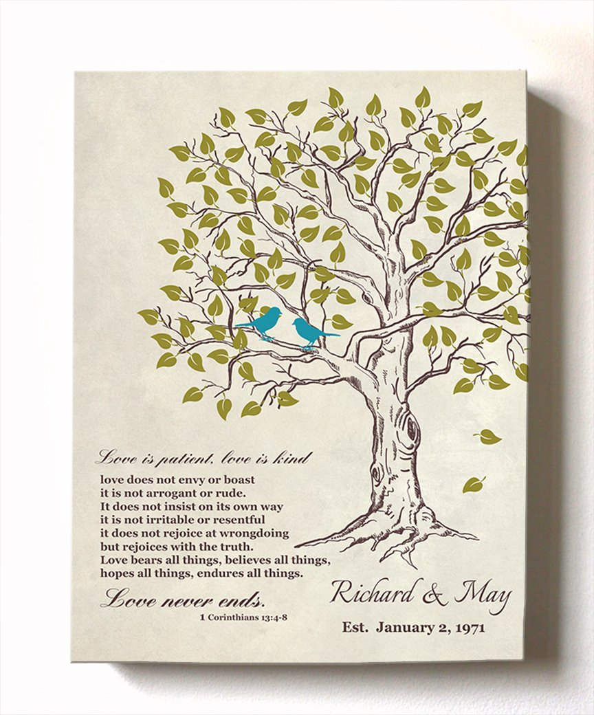 MuralMax - Personalized Family Tree & Lovebirds, Stretched Canvas Wall Art, Make Your Wedding Memorable, Unique Decor, Color Beige # 2, Size 16 x 20-30-Day