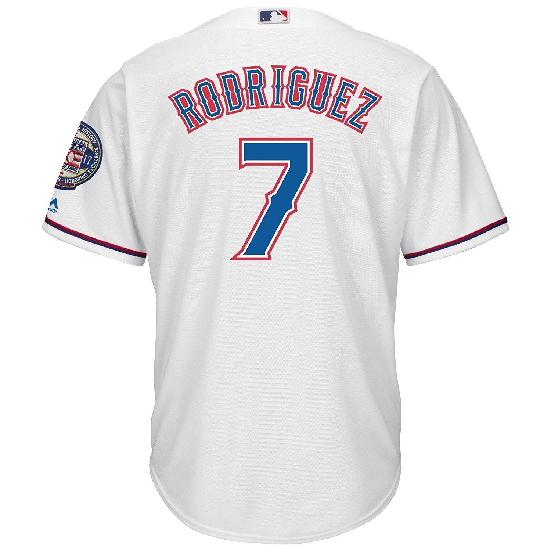Majestic Majestic Majestic Ivan Rodriguez  7 Texas Rangers Cool Base MLB Trikot w  2017 Hof Patch B07117MTTR Herren Eleganter Stil 074839