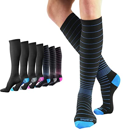 e7dfb4bfd BAMS Premium Bamboo Womens and Mens Compression Socks - Antibacterial 20-30  mmHg Graduated Knee