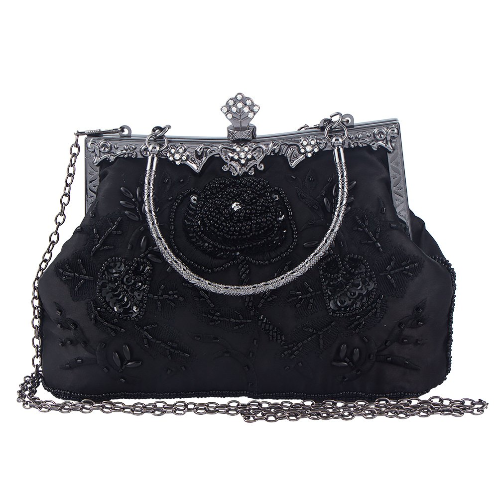 Bagood Women's Vintage Style Roses Beaded And Sequined Evening Bag Wedding Party Handbag Clutch Purse by Bagood (Image #2)