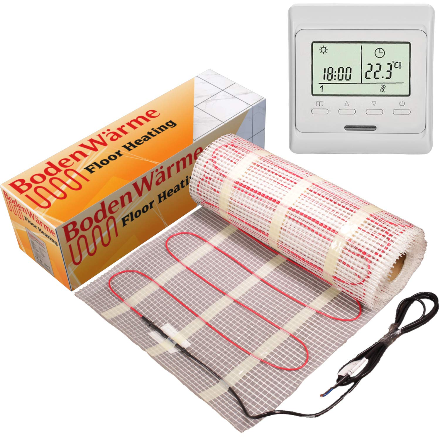 Underfloor Heating Mat 200w /m² + Thermostat. BodenWärme Premium Quality, Electric Dual Core Under Tile Heating (9.0m², Digital Thermostat)